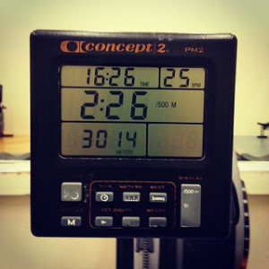 3x500 meters on the rowing machine display